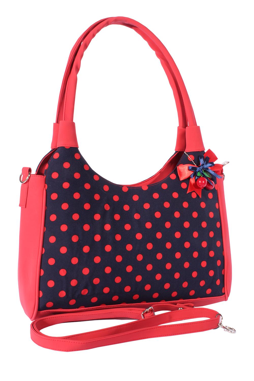 POLKA DOTS Handtasche Rockabilly Punkte Shopper Tasche marineblau