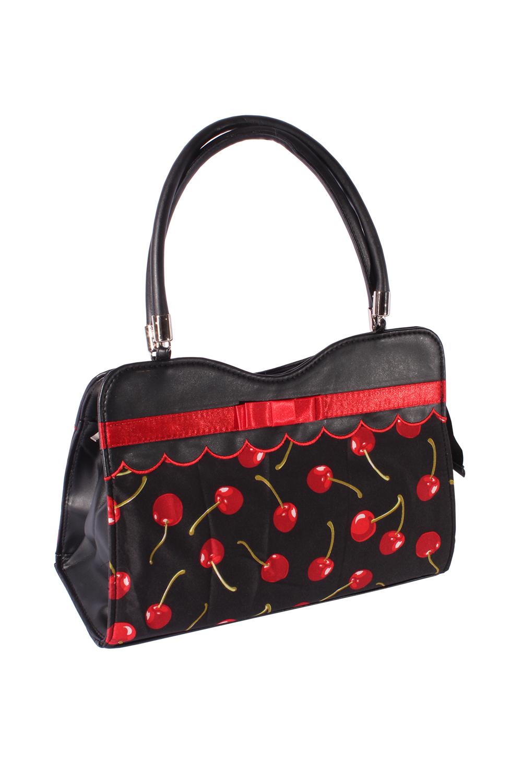 50s retro rockabilly Kirschen Schleifen Tasche BOW Cherry Handtasche