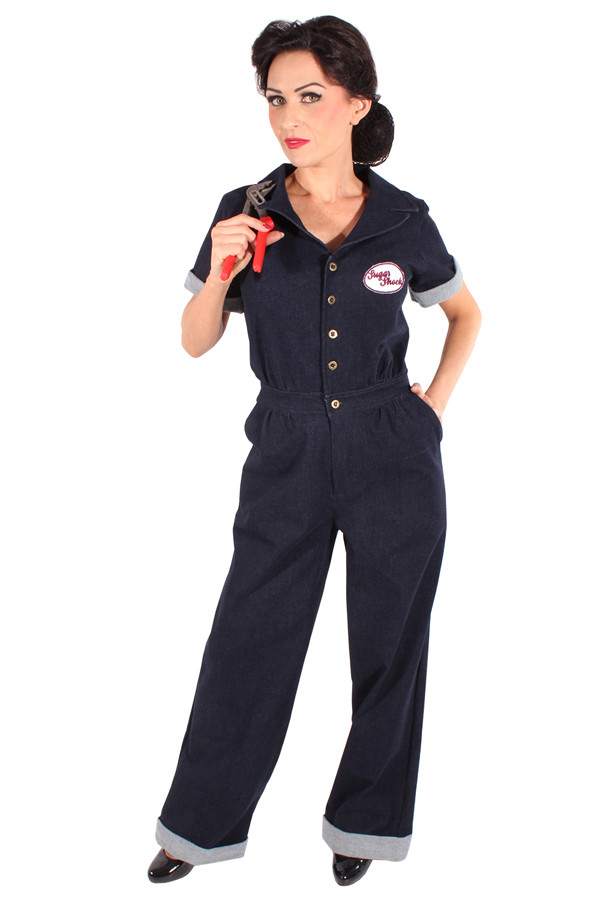retro rockabilly Worker Style Playsuit Denim Jumpsuit Jeans Overall
