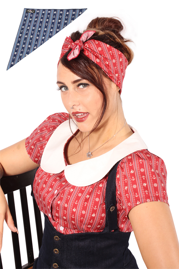 Streifen Sailor rockabilly pin up Tuch Anker Seemannstau Bandana Haarband