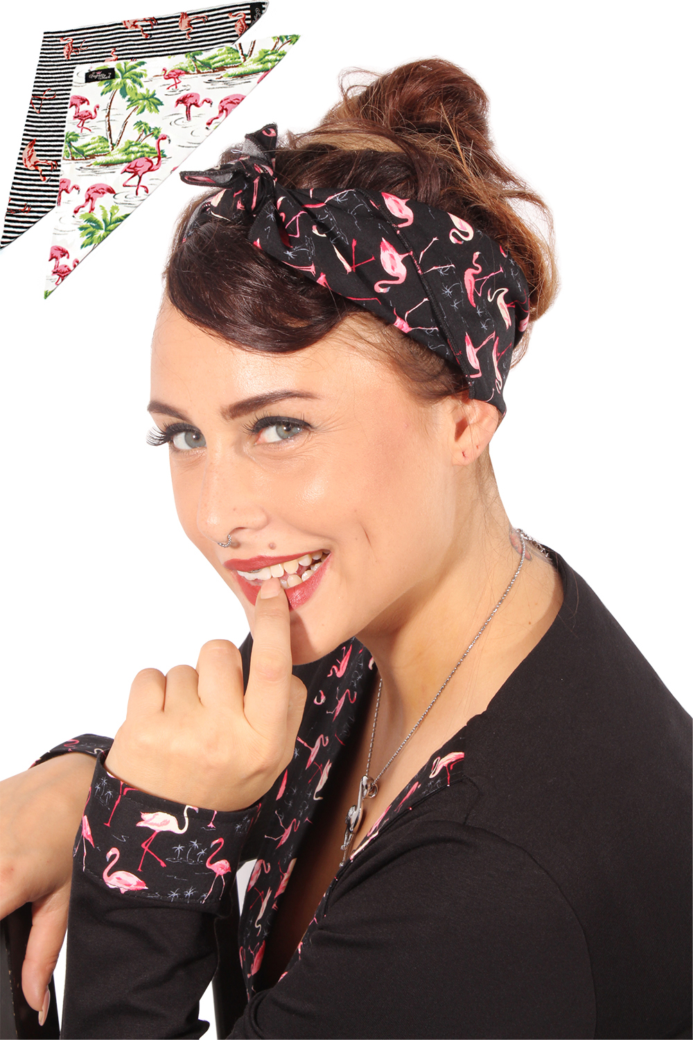 SugarShock 50s retro Flamingo rockabilly pin up Tuch Bandana Haarband