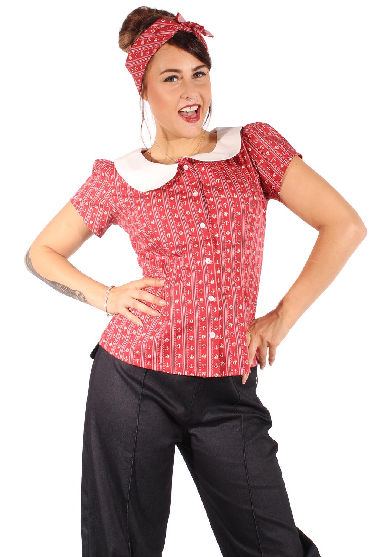 retro Streifen Anker Rockabilly Sailor Matrosen Puffarm Bluse weinrot