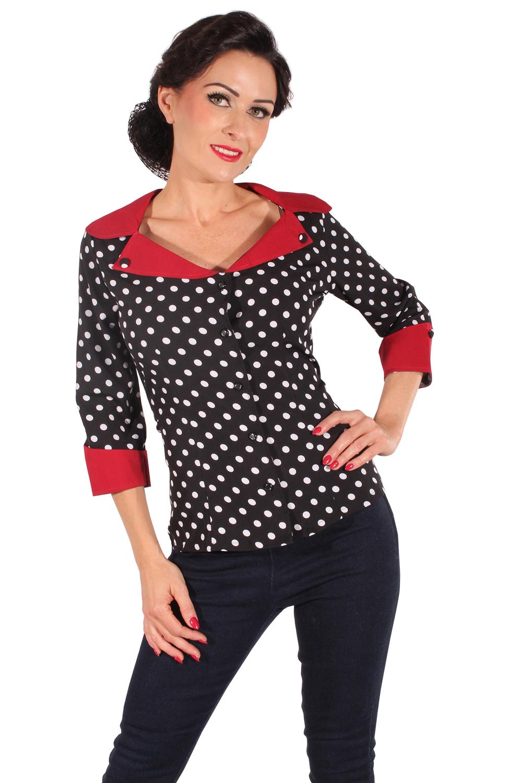 50er Jahre retro Polka Dots Rockabilly Punkte 3/4arm Bluse schwarz