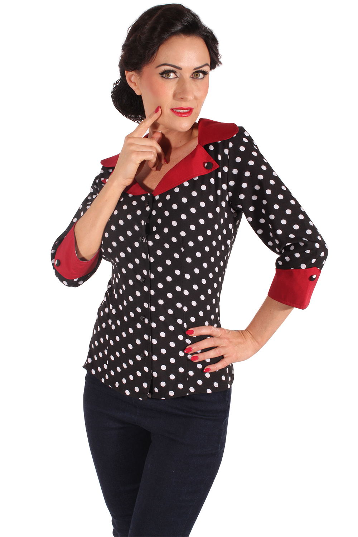 0b3802ba64827d 50er Jahre retro Polka Dots Rockabilly Punkte 3/4arm Bluse schwarz ...