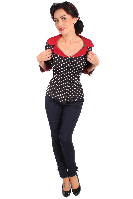 50er jahre retro polka dots rockabilly punkte 3 4arm bluse. Black Bedroom Furniture Sets. Home Design Ideas