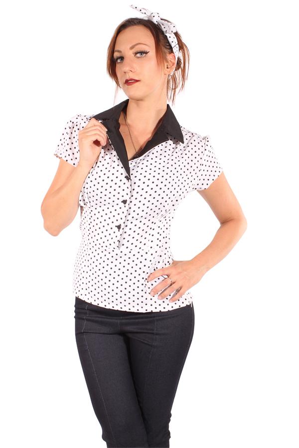 retro 50s style Polka Dots Rockabilly Puffarm Punkte Herz Bluse weiß