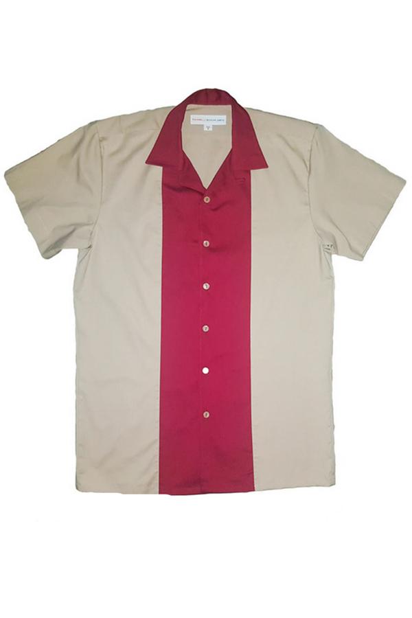 1950s Style rockabilly classic Lounge Shirt BOWLING Hemd beige-weinrot