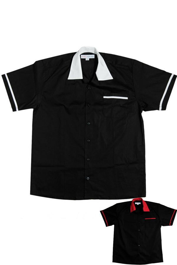 50er Jahre rockabilly Lounge Shirt Diner BOWLING Hemd schwarz