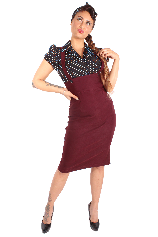Rockabilly Polka Dots retro Hosenträger Hemdkleid Bleistift Kleid burgund