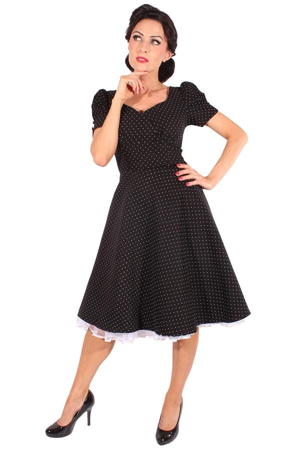 50s rockabilly SWING Kleid POLKA DOTS Puffärmel Petticoatkleid schwarz