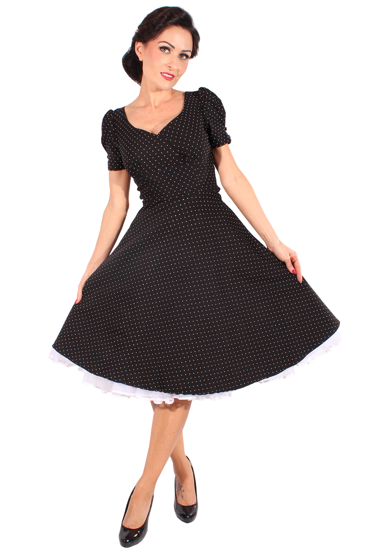 50s rockabilly swing kleid polka dots puff rmel petticoatkleid schwarz ebay. Black Bedroom Furniture Sets. Home Design Ideas