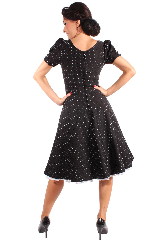 50s rockabilly swing kleid polka dots puff rmel petticoatkleid schwarz. Black Bedroom Furniture Sets. Home Design Ideas