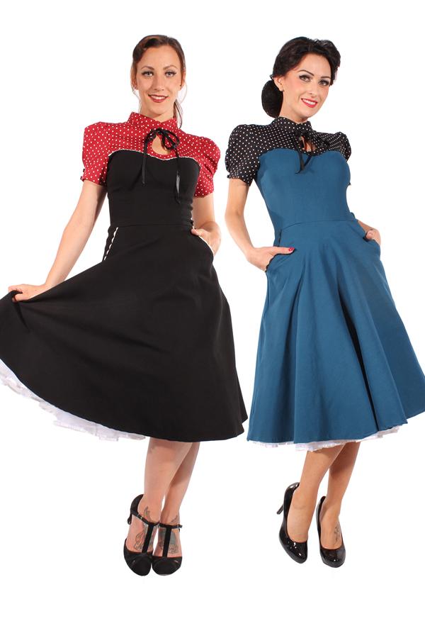 Retro Polka Dots rockabilly Corsagenoptik SWING Kleid Petticoatkleid