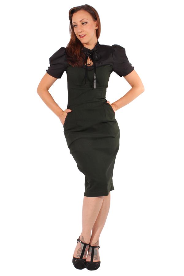 50s rockabilly Corsagenoptik Uniform Style Bleistift Kleid Pencilkleid