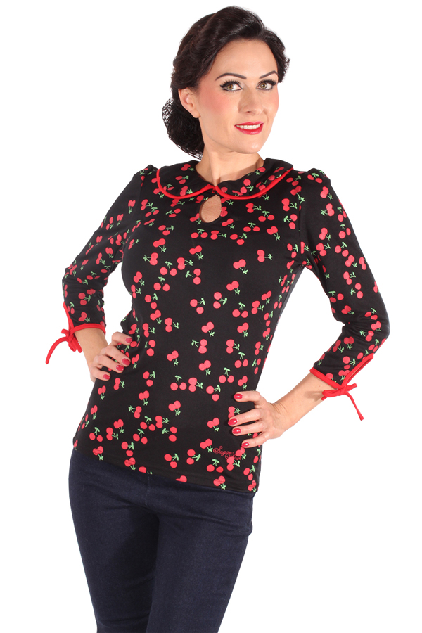 50er Cherry pin up Rockabilly Bubikragen Kirschen 3/4arm Longsleeve