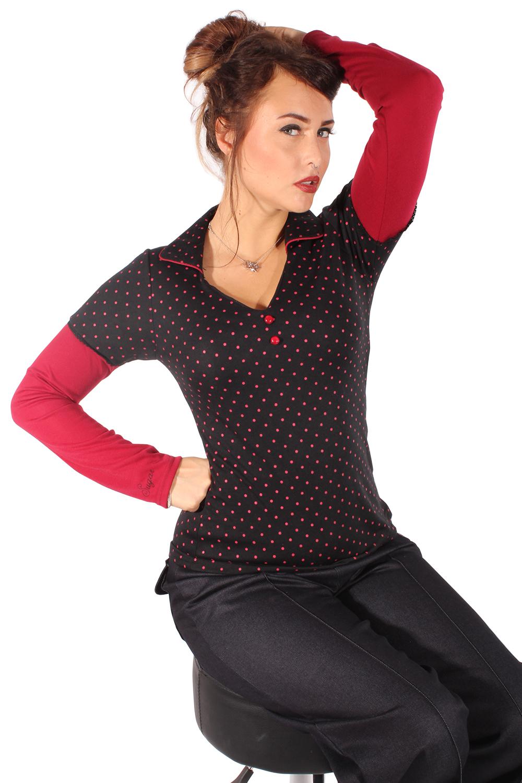 Polka Dots Rockabilly retro Punkte Poloshirt V-Ausschnitt Longsleeve