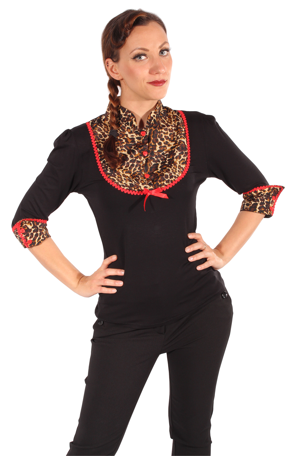 Rockabilly Leoparden 3/4arm Puffärmel LEO retro Shirt Longsleeve