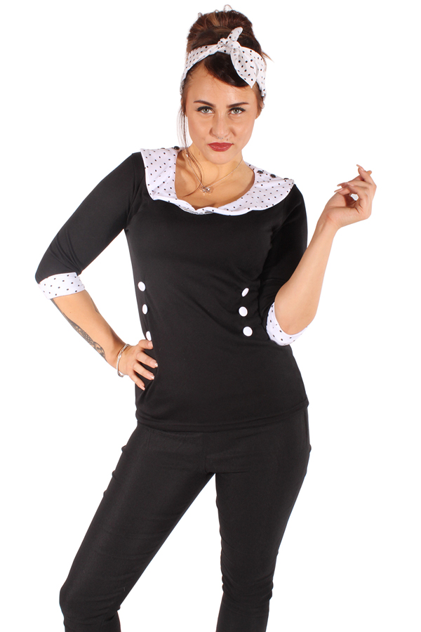 50er Jahre Pünktchen Polka Dots Rockabilly pin up 3/4arm Longsleeve