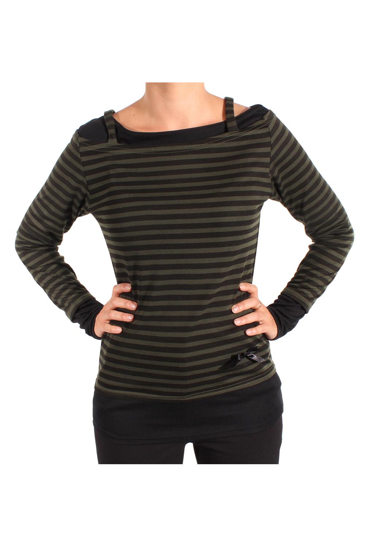 2tone Optik Streifen Rockabilly punk rock langarm Shirt Longsleeve