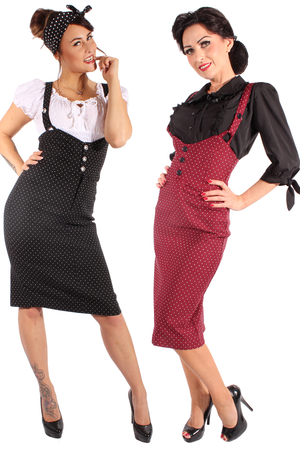 Polka Dots rockabilly Hosenträger retro high waisted Bleistiftrock Rock