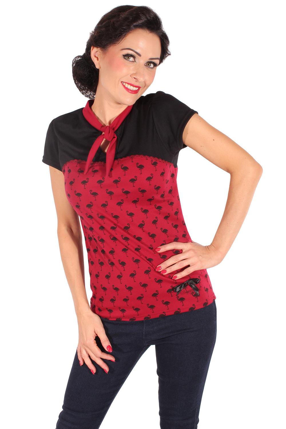 Retro Flamingo Rockabilly Schlüsselloch Puffärmel Corsagen Optik T-Shirt