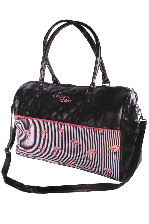 retro Streifen Flamingo Weekender rockabilly Handtasche Umhängetasche