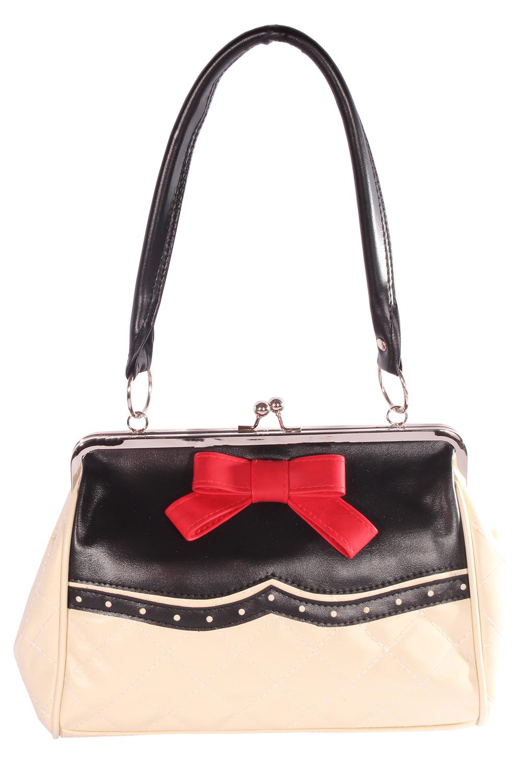 50er rockabilly Budapester retro Schleife Kisslock Bow Handtasche
