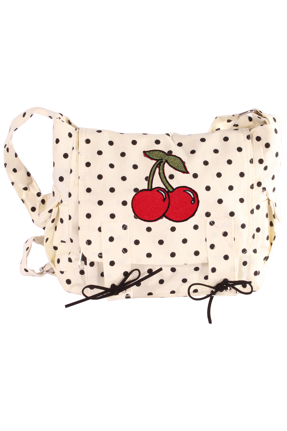 Military pin up POLKA DOTS Kirsche rockabilly Cherry Handtasche creme