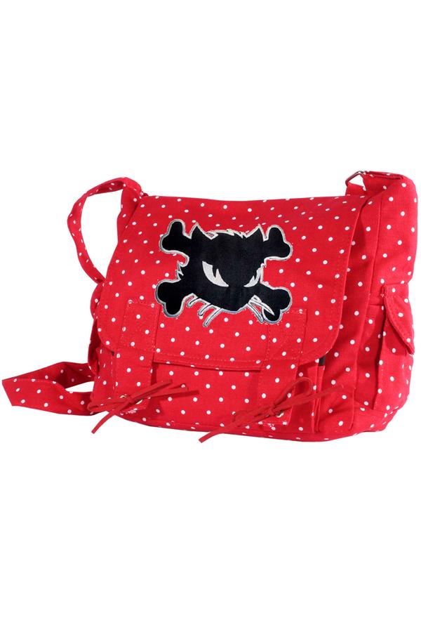 Kitty pin up POLKA DOTS Cat rockabilly Military Handtasche rot