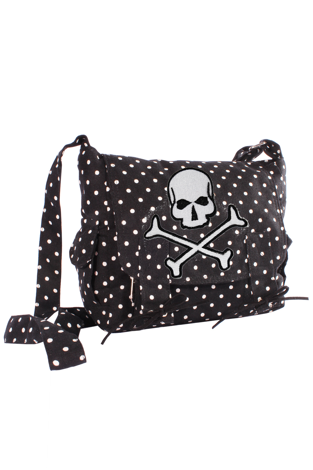 Skull pin up POLKA DOTS Totenkopf rockabilly Military Handtasche schwarz