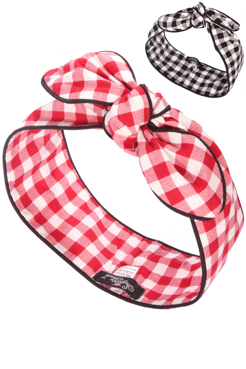 Gingham rockabilly Karo Haarreif pin up Frisuren Haarband kariert