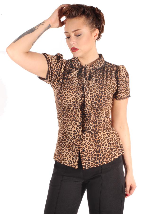 Retro Rockabilly Leoparden Schluppenbluse Rüschen Bubikragen Bluse