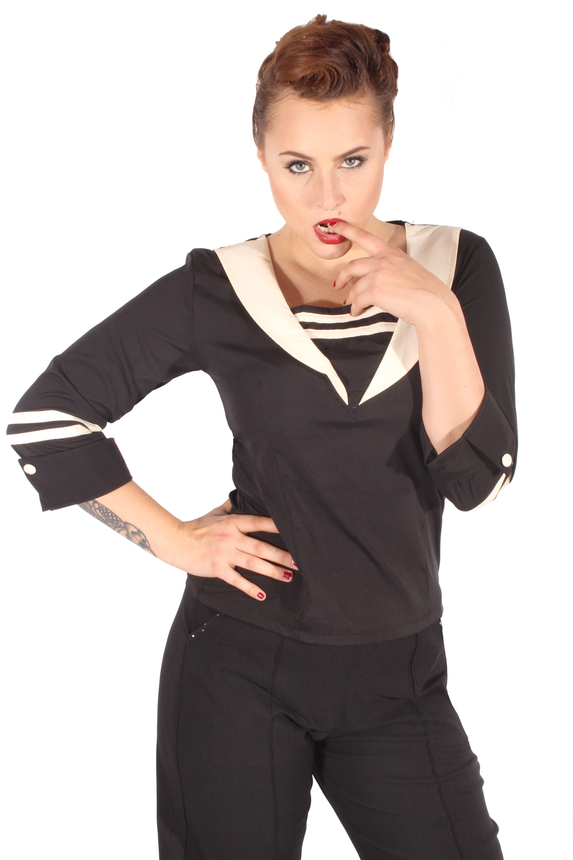 Matrosen Rockabilly retro V-Ausschnitt Sailor 3/4arm Bluse schwarz