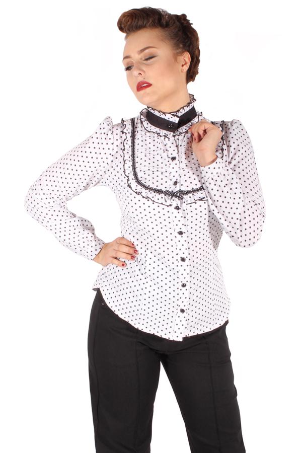 Stehkragen Polka Dots Rockabilly Puffarm Rüschen langarm Bluse