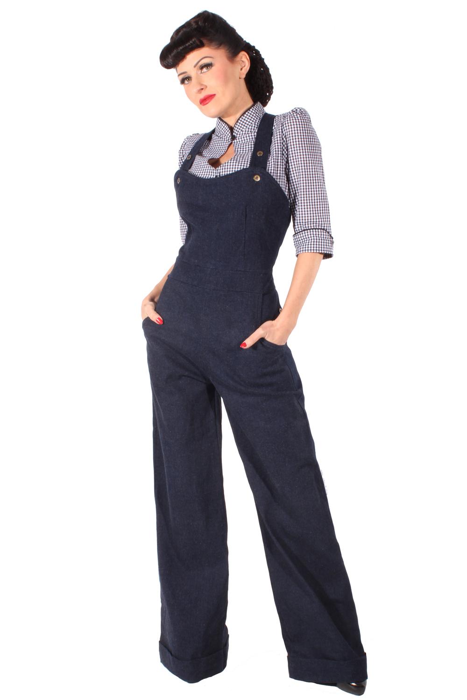 Denim Marlene Hosenträger Jeans Retro rockabilly LATZHOSE