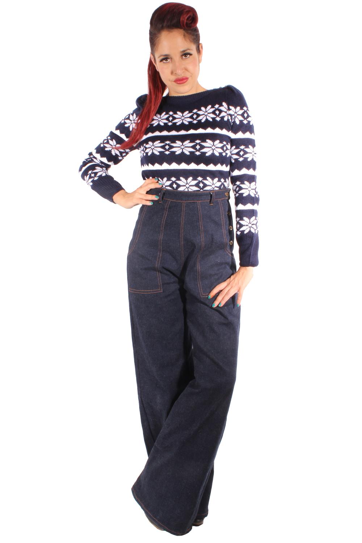 MARLENE Retro DENIM rockabilly jeans Hose High Waist Marlenehose