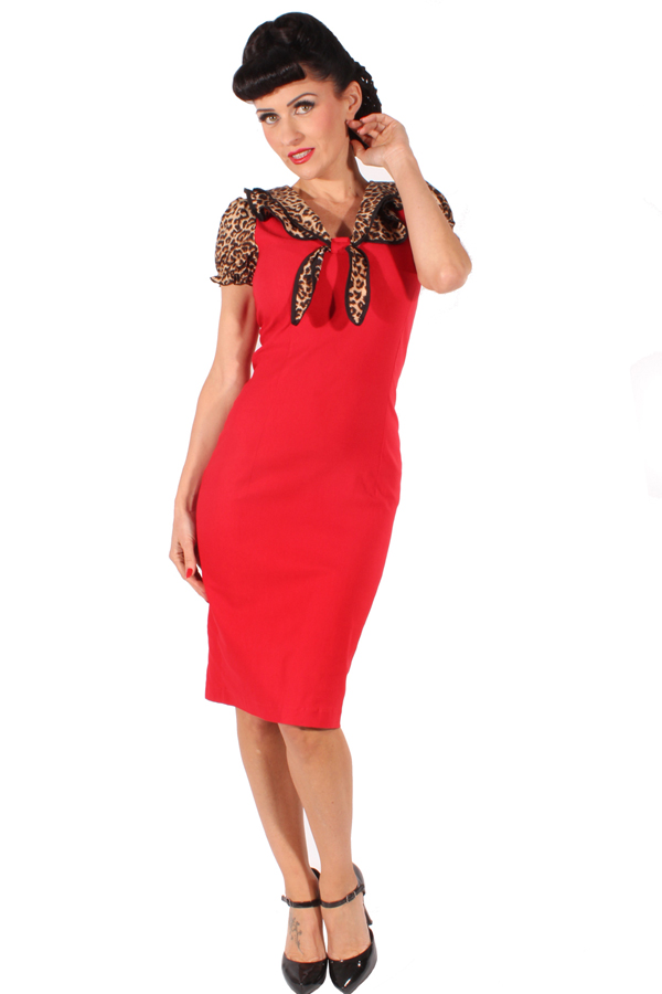 Leo Pin Up Rockabilly Etuikleid Leoparden Retro Kragen Pencil Kleid rot