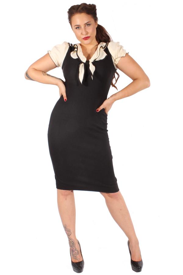 Pin Up Rockabilly Etuikleid Retro Kragen Pencil Kleid schwarz