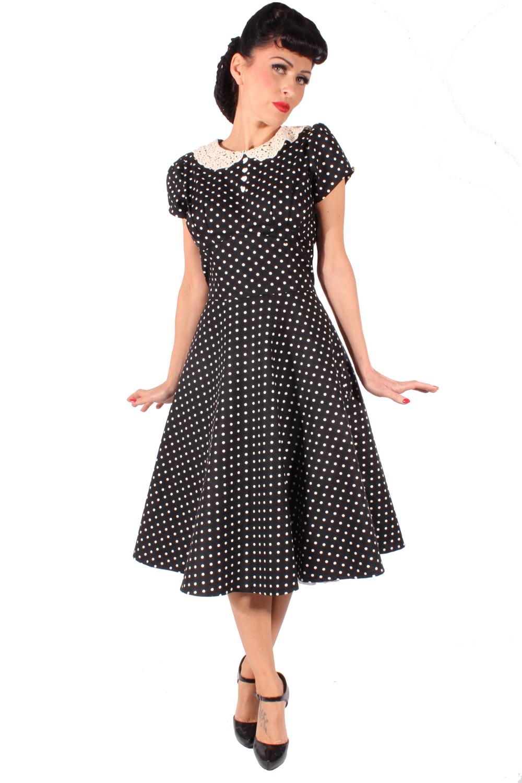 retro Polka Dots Häkelspitze Bubikragen Petticoatkleid Swing Kleid
