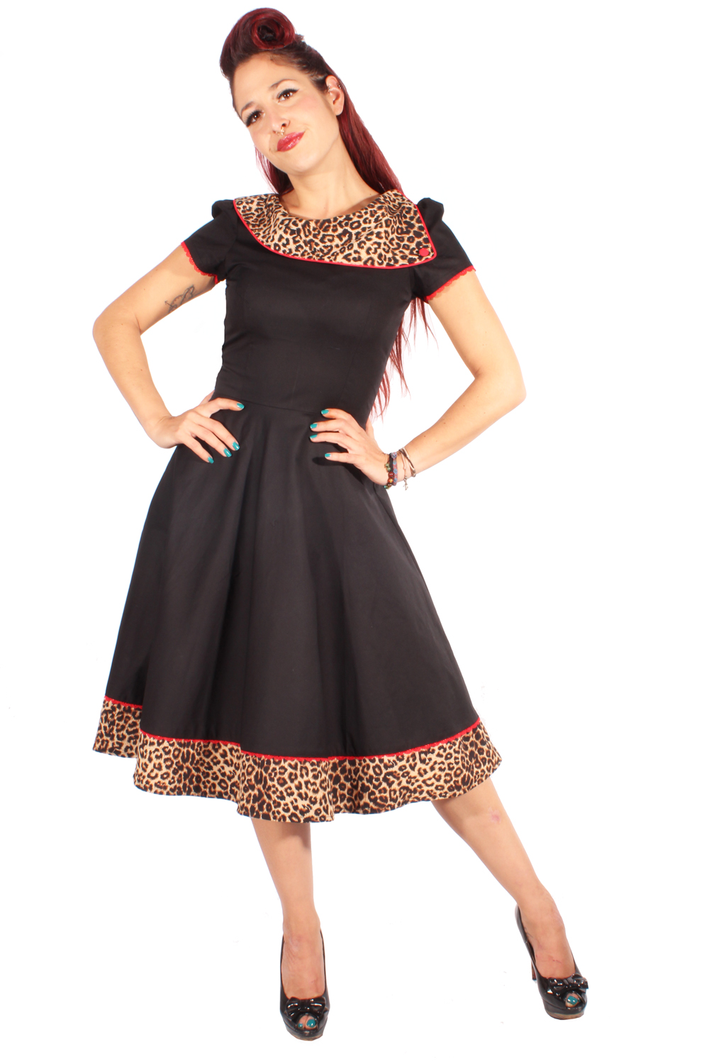 50er retro Pin Up Leoparden Petticoatkleid Puffärmel Leo Swing Kleid