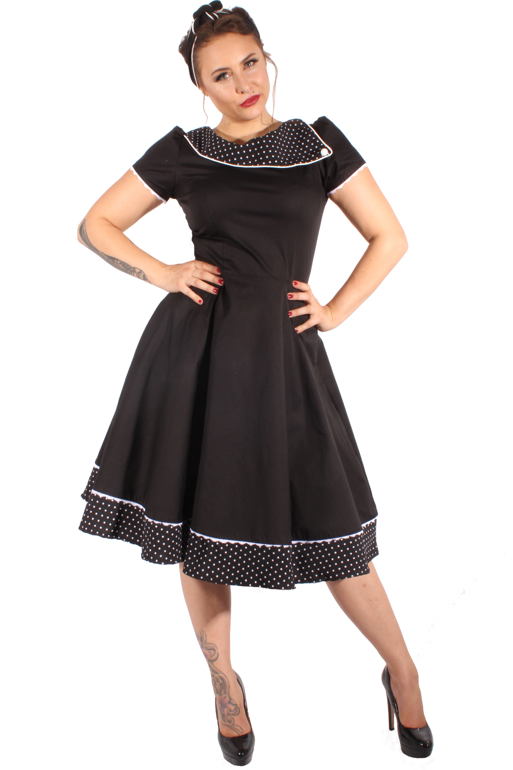 50er retro Pin Up Polka Dots Petticoatkleid Puffärmel Swing Kleid