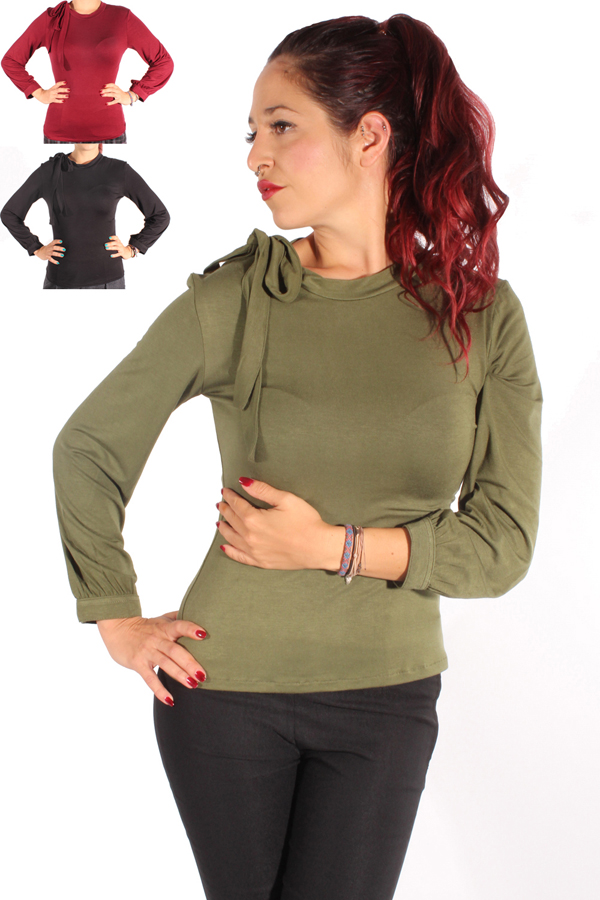 Basic Rockabilly Schleifen Langarm Shirt Schluppen Longsleeve einfarbig
