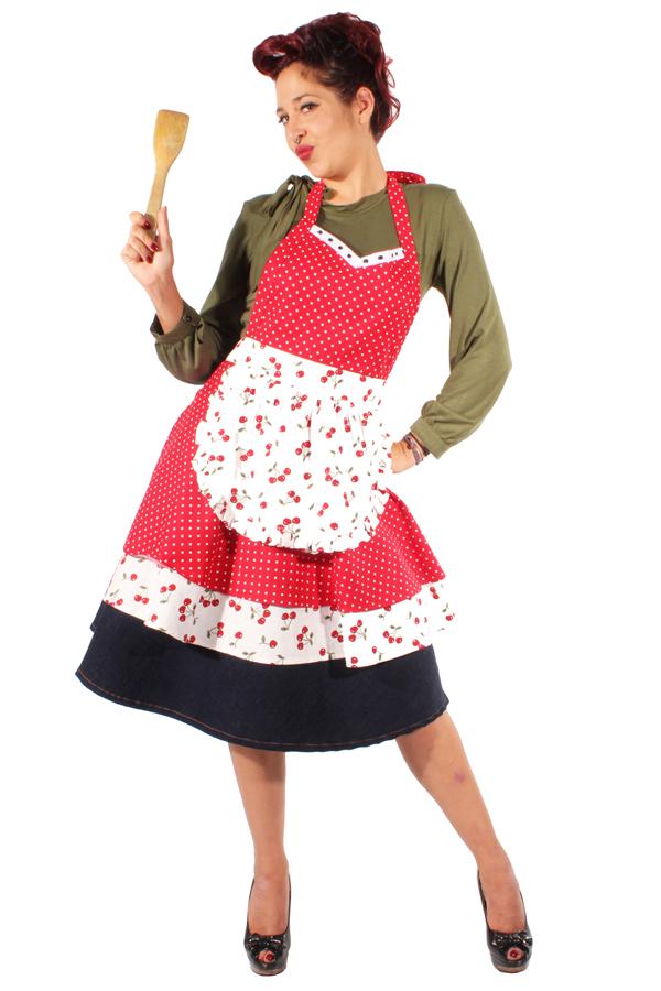 Retro Cherry Polka Dots rockabilly vintage Kirsche Schürze Latzschürze