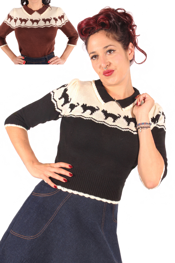 40s Cat pin up vintage Retro Katzen Strick Jumper Kitty Strickpulli