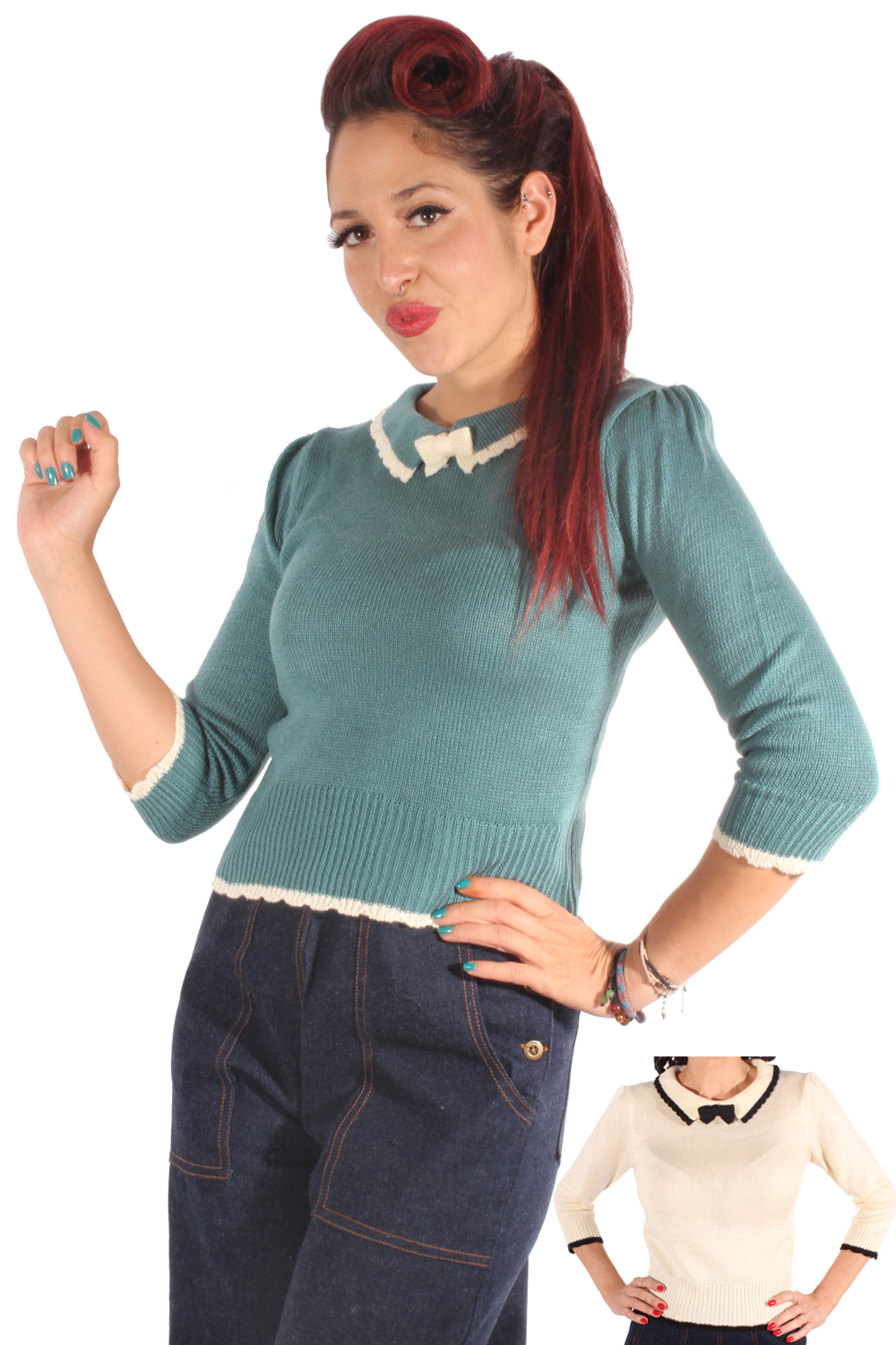 40er pin up vintage Retro Strick Pullover Schleifen Strickpulli