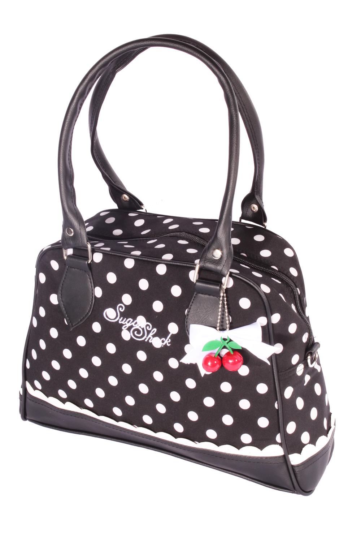 Polka Dots Rüschen rockabilly Bowling Punkte Handtasche schwarz