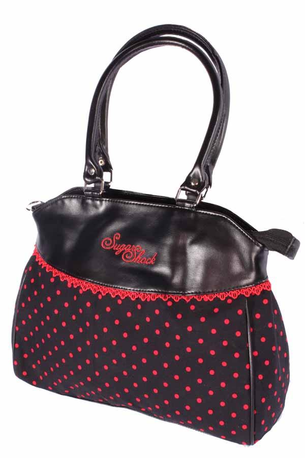 Polka Dots rockabilly Punkte Beutel Shopper Handtasche schwarz