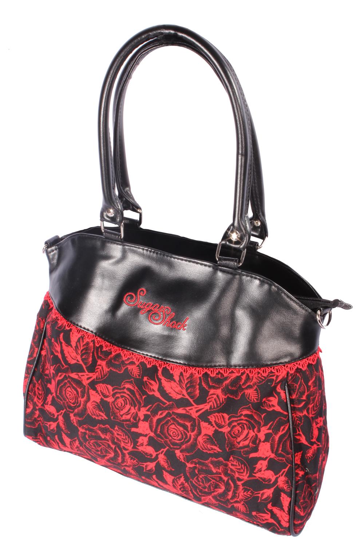 Rosen rockabilly Blumen Flower Shopper Handtasche schwarz