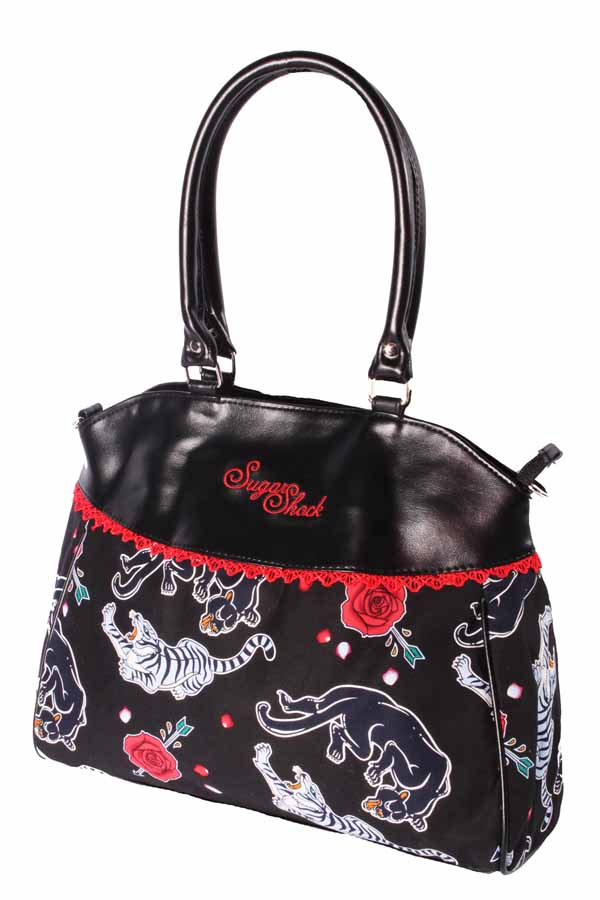 Tattoo Panther rockabilly punk rock Shopper Handtasche schwarz