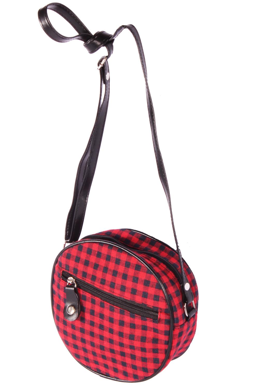 Karo rockabilly Gingham Mini Purse Handtasche Round Bag Abendtasche rot